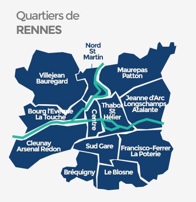 Quartiers à Rennes